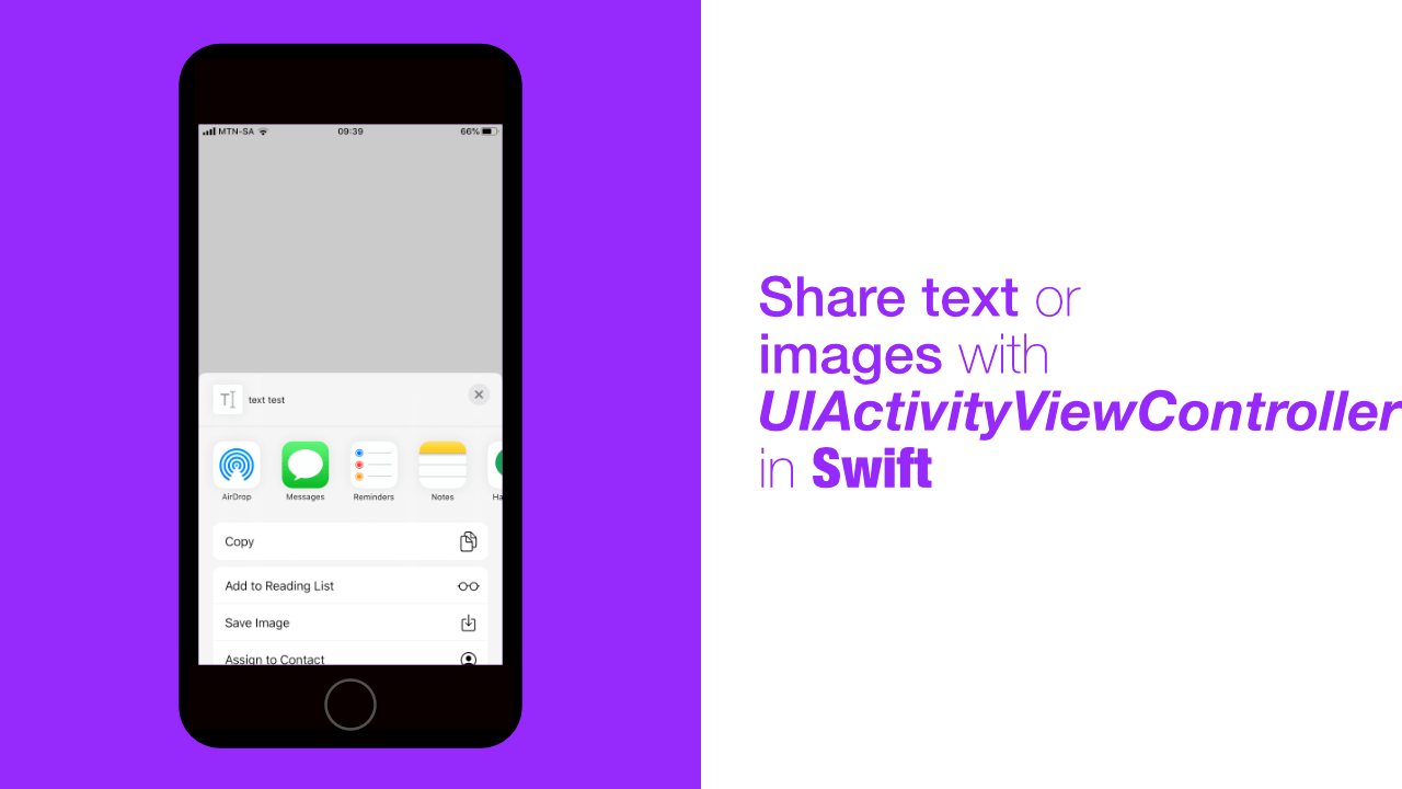 Share text or images with UIActivityViewController in Swift