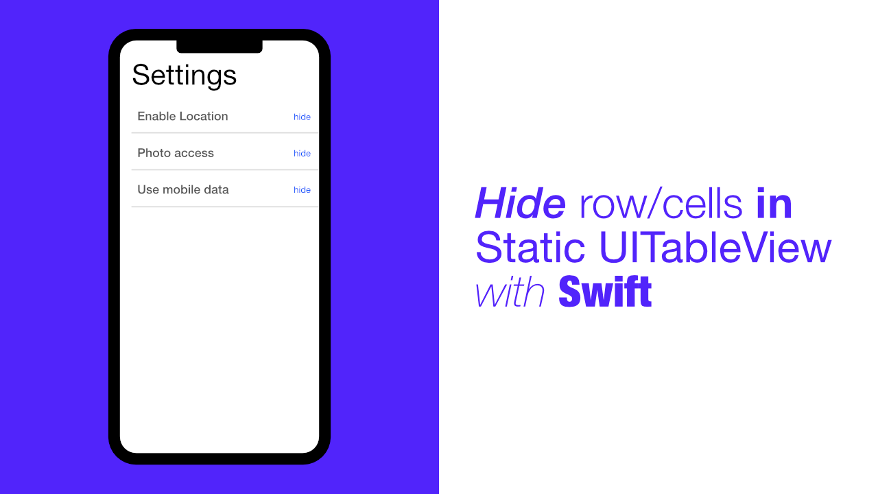 Hide row/cells in Static UITableView with Swift