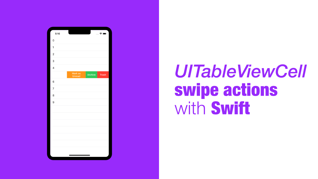 UITableViewCell swipe actions with Swift