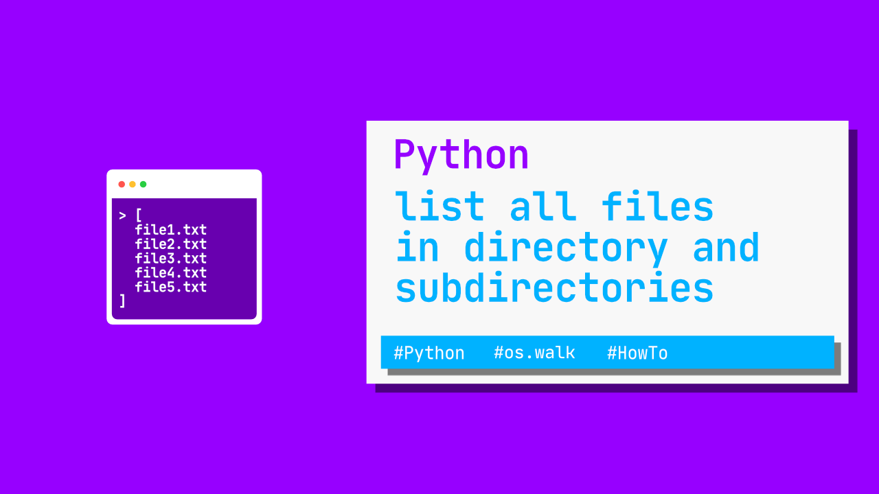Python - list all files in directory and subdirectories(4 loc)